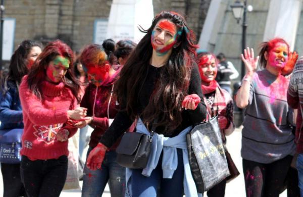 Shimla: People celebrate 'Holi' in Shimla on March 20, 2019. (Photo: IANS)