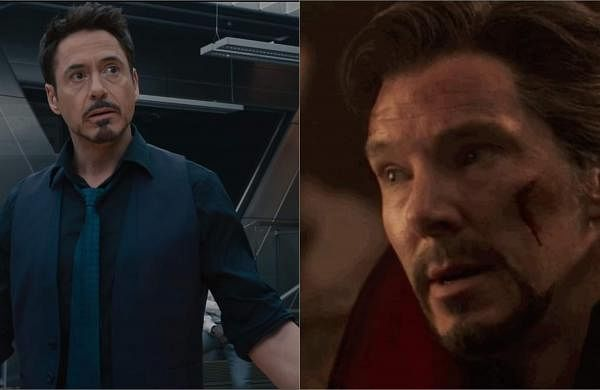 Robert Downey Jr and Benedict Cumberbatch as Tony Stark and Benedict Cumberbatch