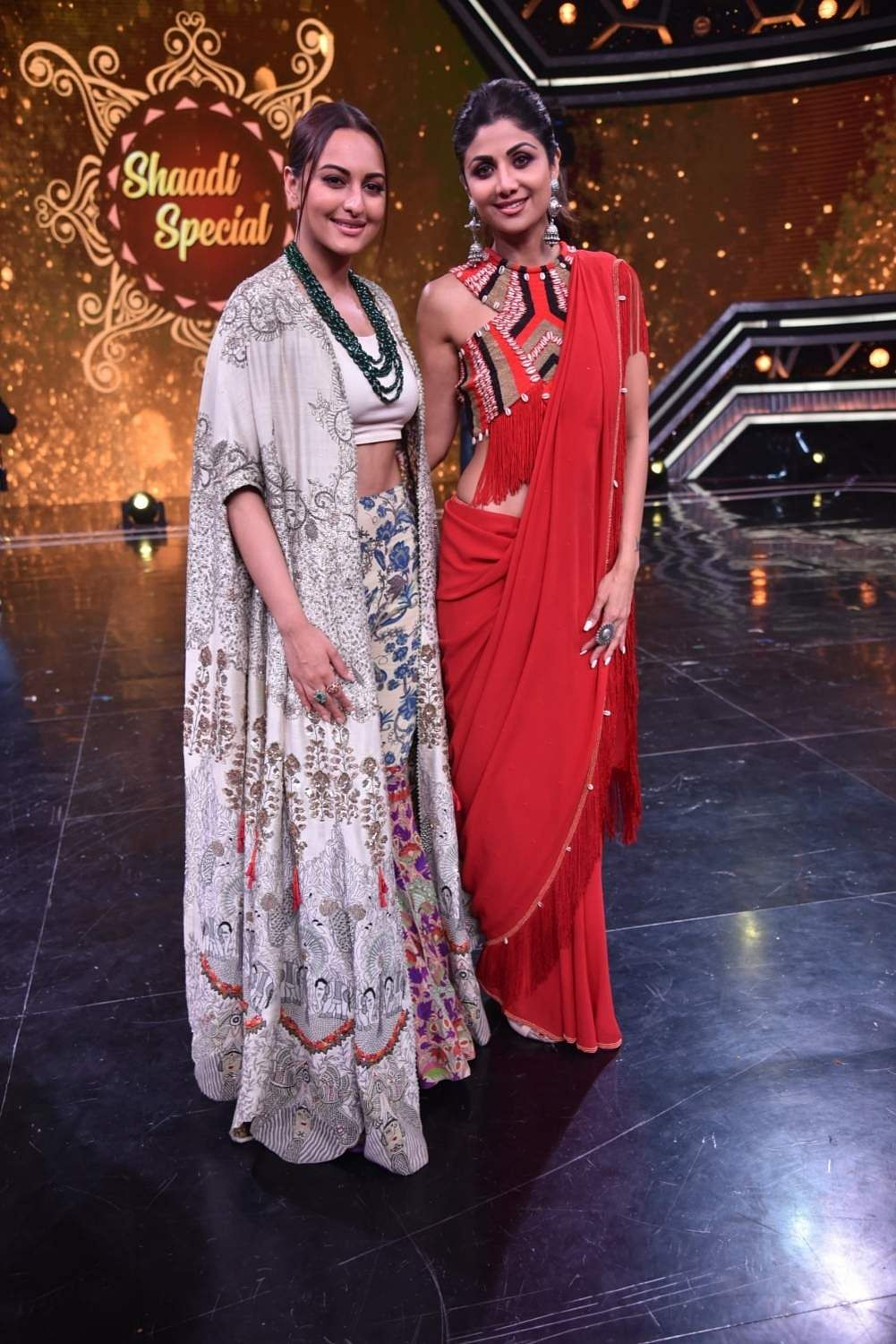 Actors Sonakshi Sinha and Shilpa Shetty on the sets of Super Dancer Chapter 3 in Mumbai on March 25, 2019. (Photo: IANS)