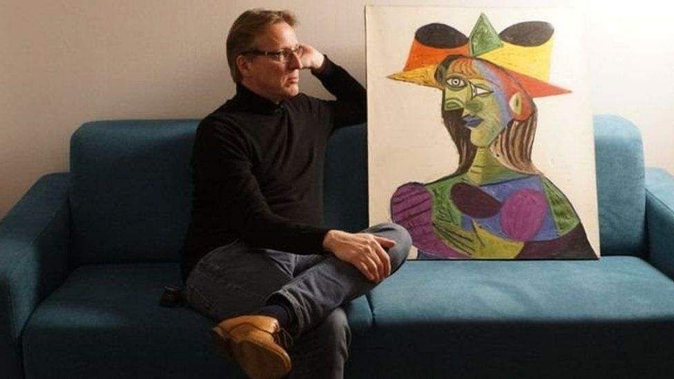 Arthur Brand with the recovered Picasso/Source: YouTube