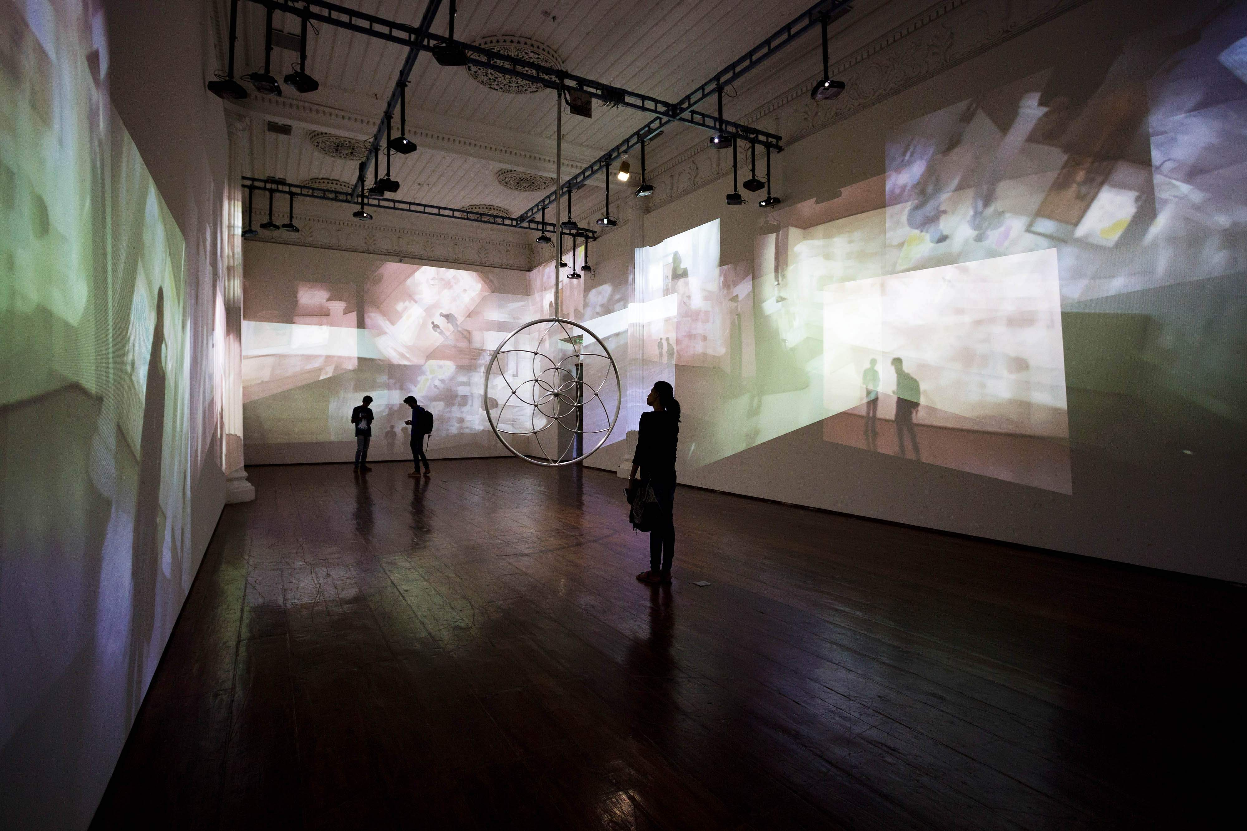 KMB 2016: Gary Hill's installation 'Dream stop' at Durbar Hall, Ernakulam. All images courtesy Kochi Biennale Foundation.