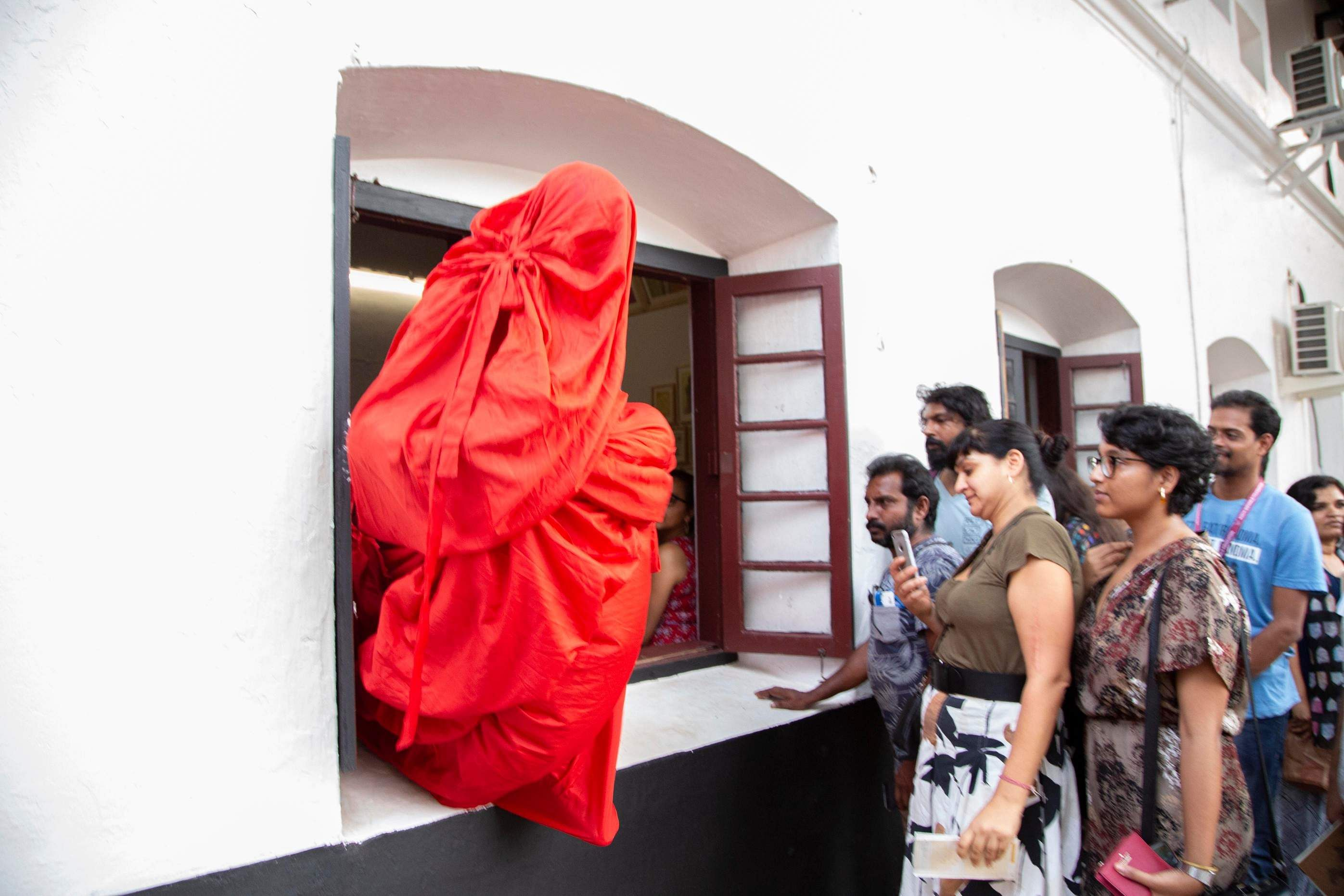 Kochi-Muziris Biennale 2018 artist Aryakrishnan R gives a performance at the festival's main venue of Aspinwall House in Fort Kochi. All images courtesy Kochi Biennale Foundation.
