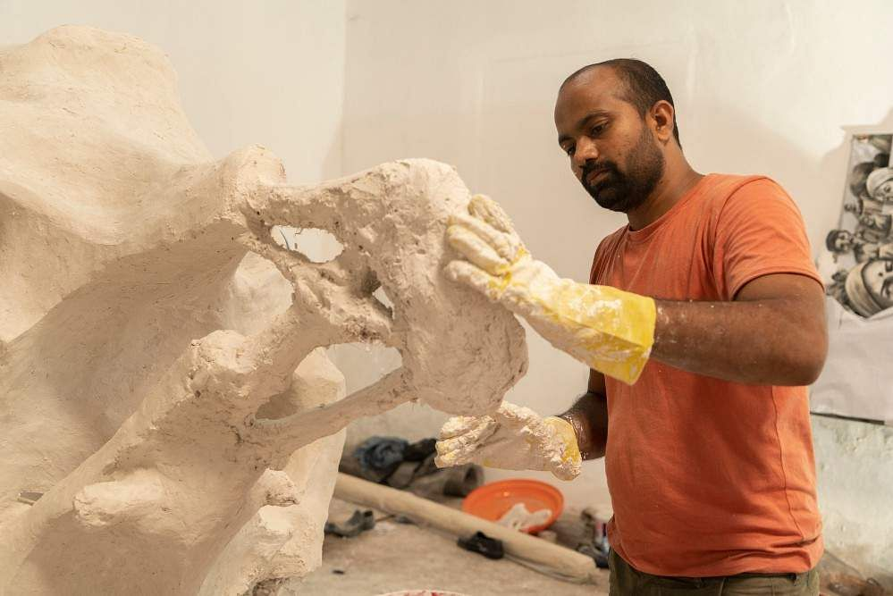 Prabhakar Pachpute, Work in progress. All images courtesy Kochi Biennale Foundation.