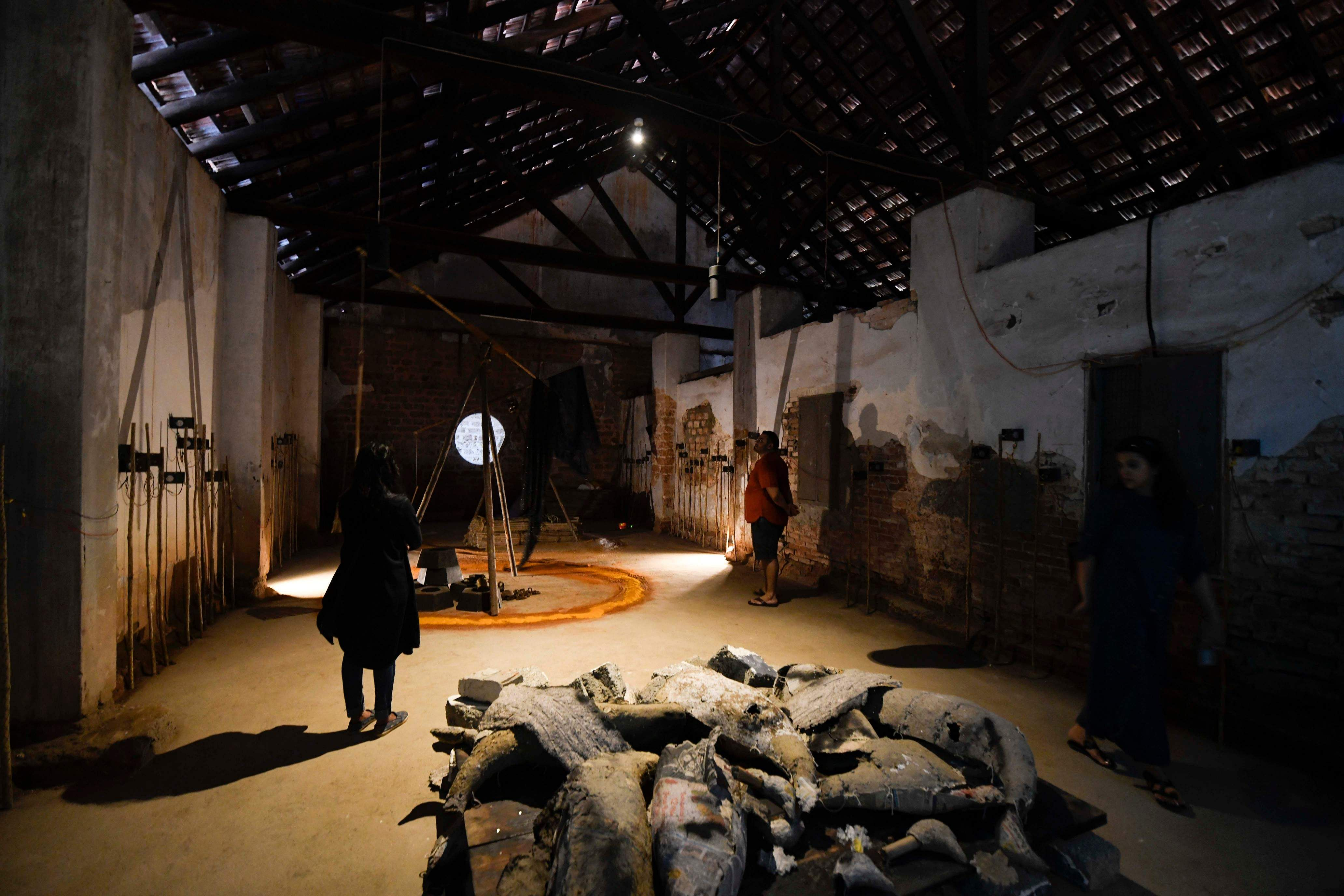 BV Suresh at the Biennale. All images courtesy Kochi Biennale Foundation.