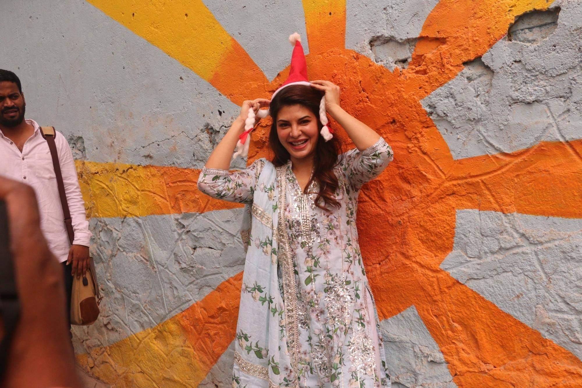 Mumbai: Actress Jacqueline Fernandez during Christmas celebrations in Mumbai's Bandra, on Dec 24, 2018. (Photo: IANS)