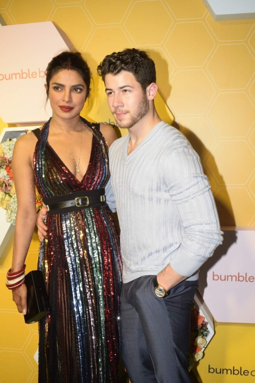Mumbai: Newlyweds Priyanka Chopra and Nick Jonas during a launch party in Mumbai, on Dec 7, 2018. (Photo: IANS)