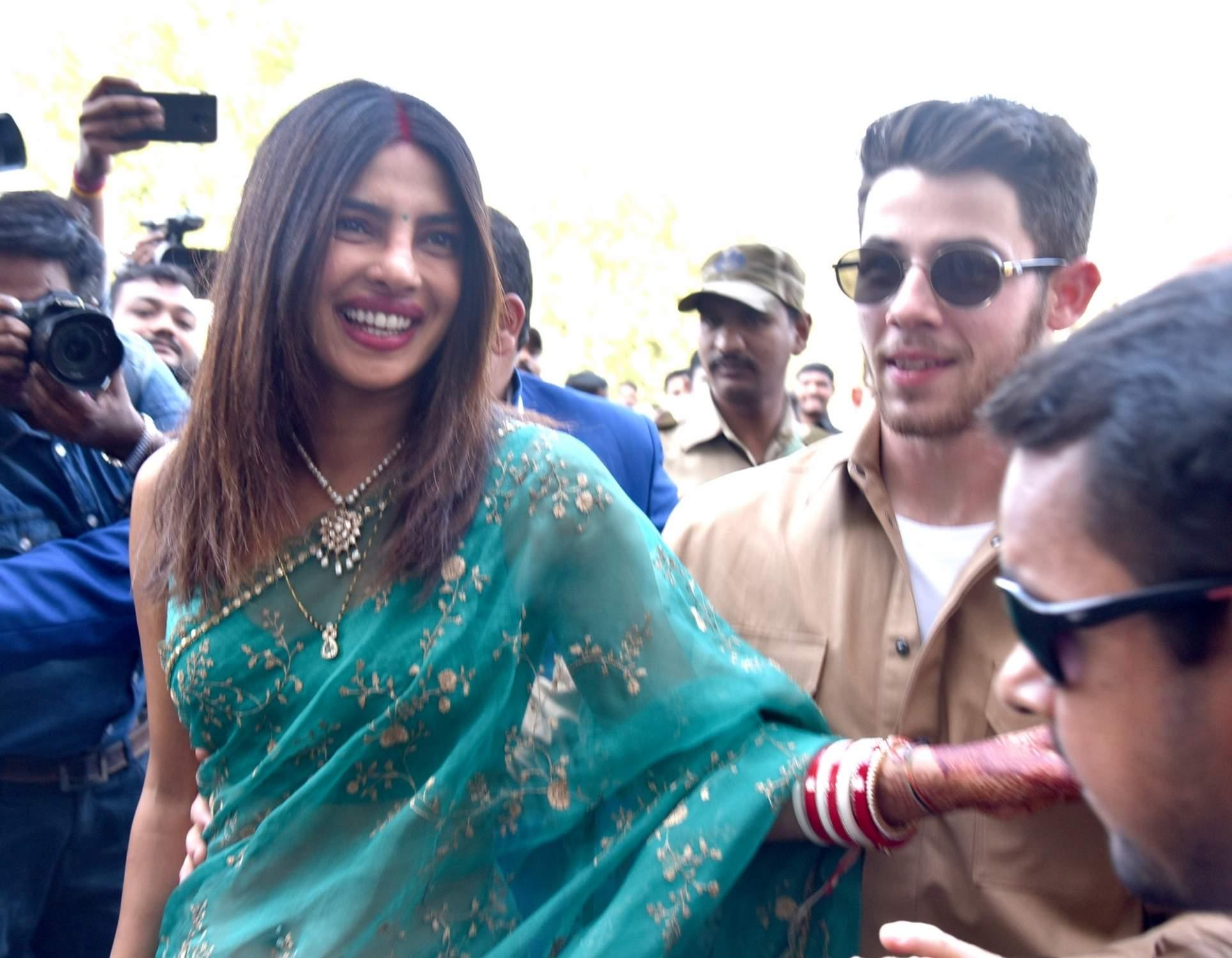 Jodhpur: Actress Priyanka Chopra and her husband Nick Jonas depart from Jodhpur on Dec 3, 2018. (Photo: IANS)