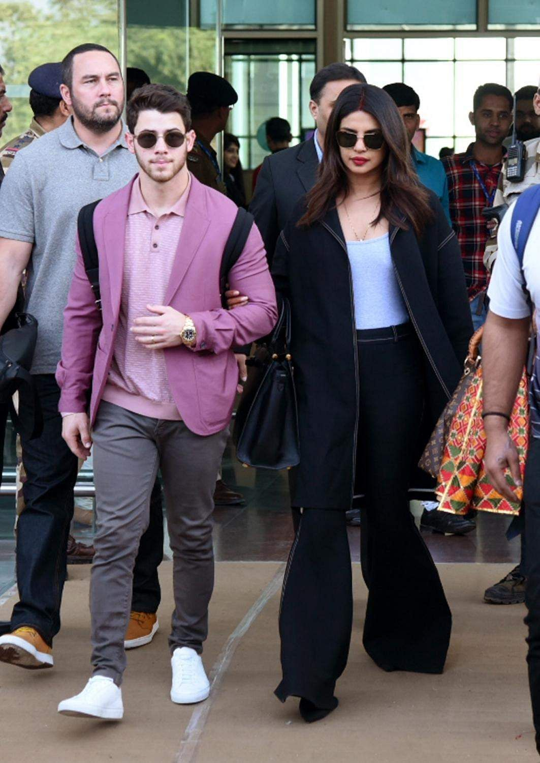 Udaipur: Priyanka and Nick arrive to attend the pre-wedding functions of Isha Ambani and Anand Piramal in Udaipur, Rajasthan on Dec 8, 2018. (Photo: IANS)