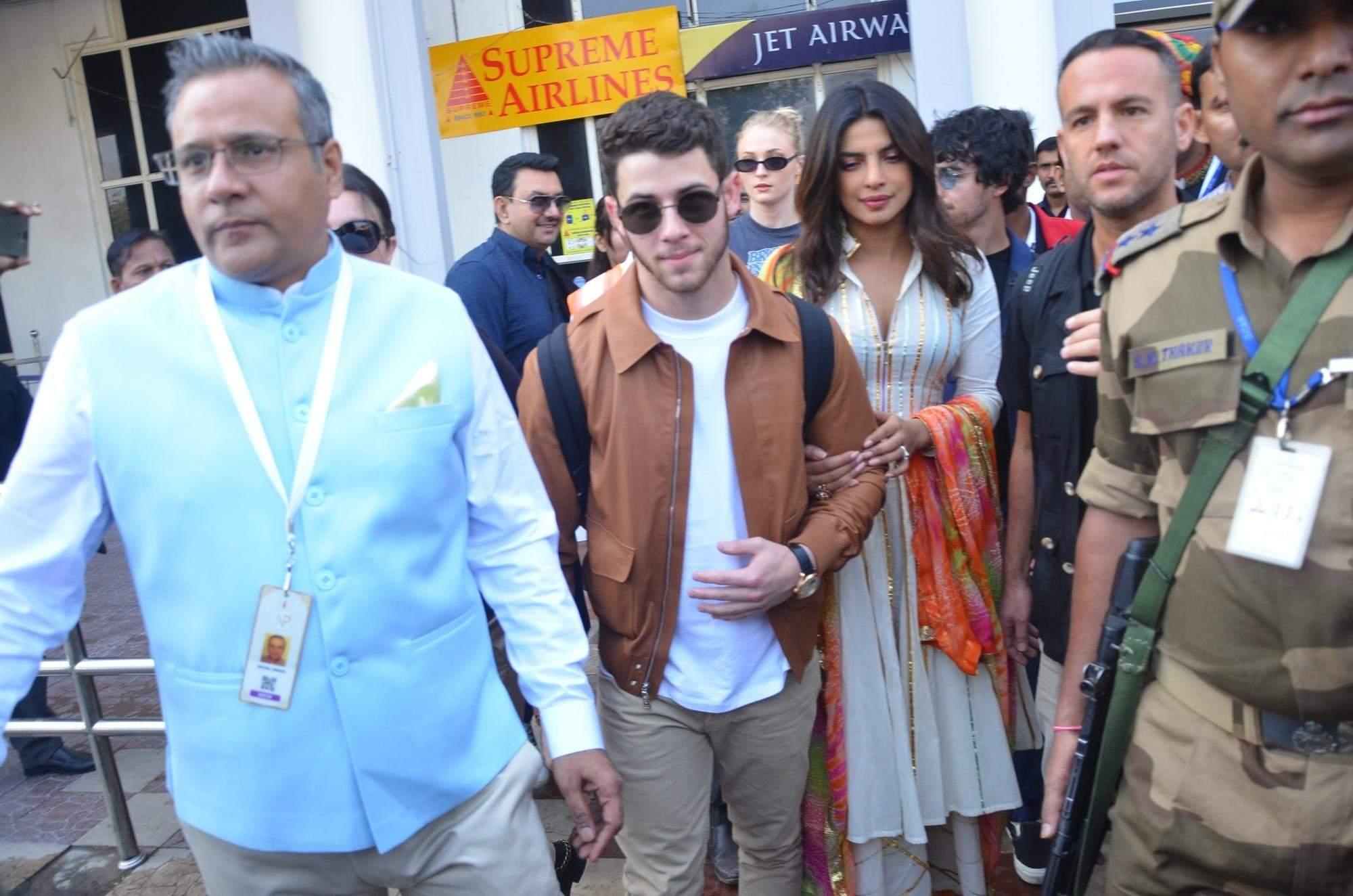 Jodhpur: Actress Priyanka Chopra and American singer Nick Jones arrives at Jodhpur Airport on Nov. 29, 2018. (Photo: Mohammed Sharif/IANS)