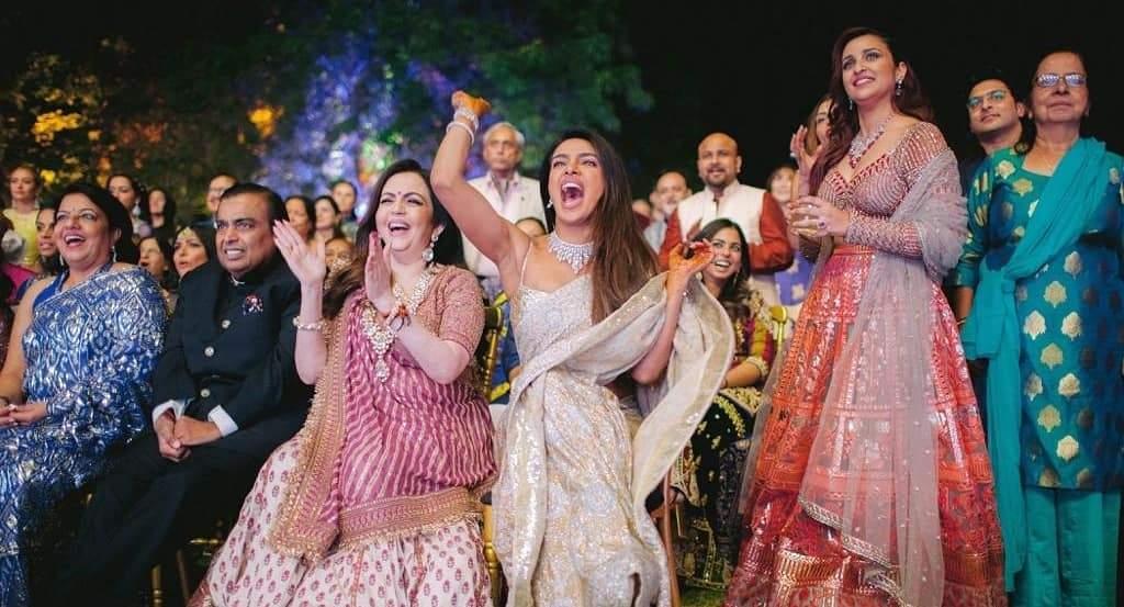 Jodhpur: Industrialist Mukesh Ambani and his wife Nita Ambani with actresses Priyanka Chopra and Parineeti Chopra at Priyanka's wedding with Nick Jonas in Jodhpur on Dec 2, 2018. (Photo: IANS)