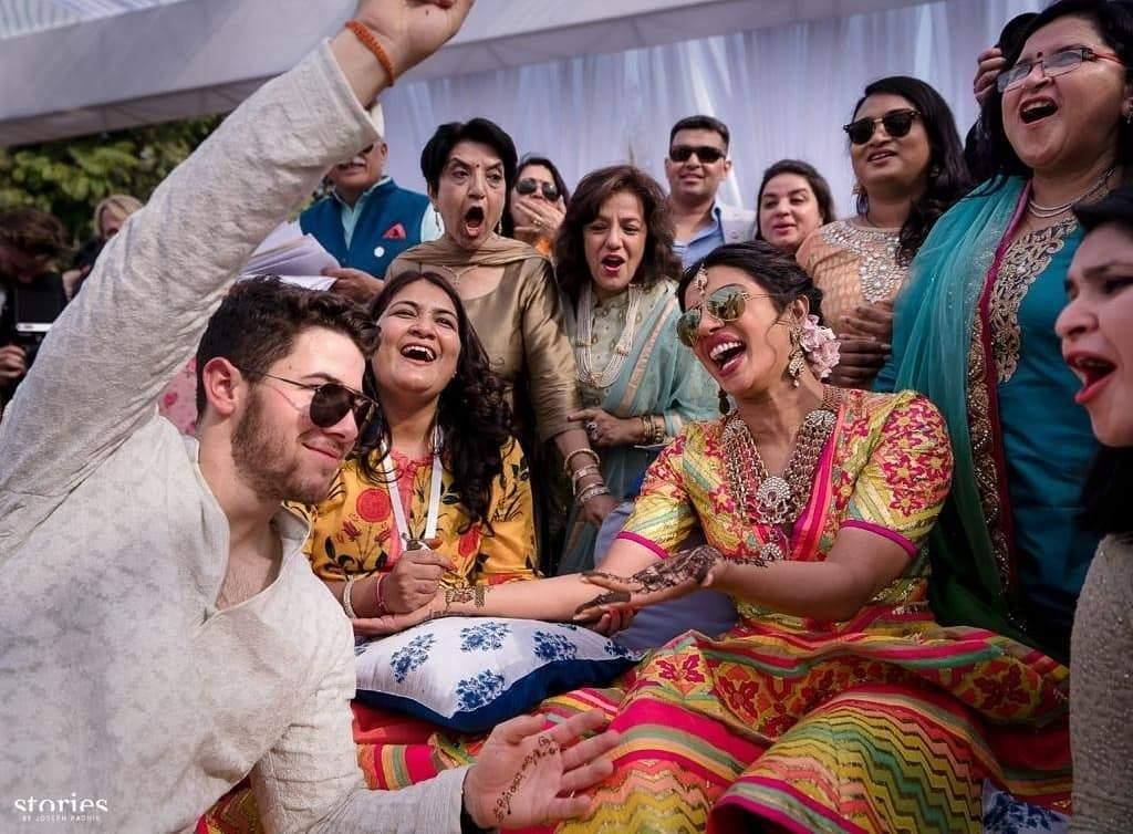 Jodhpur, 1 December 2018: Actress Priyanka Chopra and American pop-singer Nick Jonas during their mehendi ceremony in Jodhpur. (Instagram/priyankachopra)
