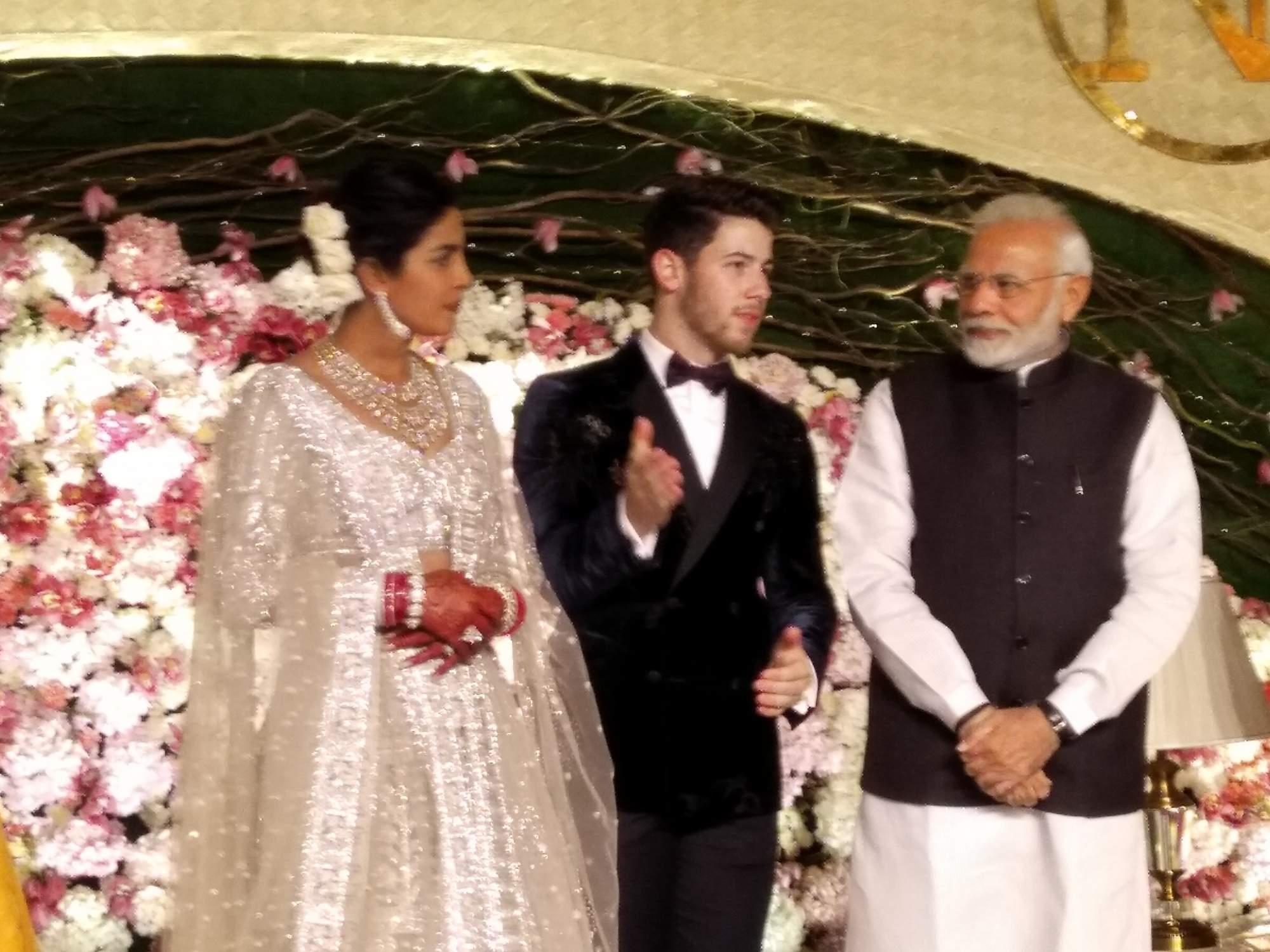 New Delhi: Prime Minister Narendra Modi with actress Priyanka Chopra and Nick Jonas at their wedding reception in New Delhi on Dec 4, 2018. (Photo: IANS)