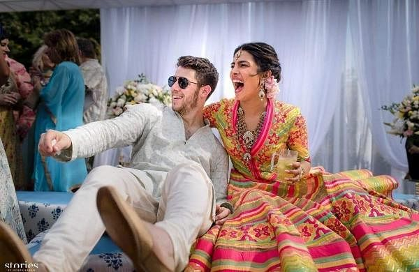 Jodhpur, 1 December 2018: Actress Priyanka Chopra and American pop-singer Nick Jonas during their mehendi ceremony in Jodhpur. (Instagram/priyankachopra)