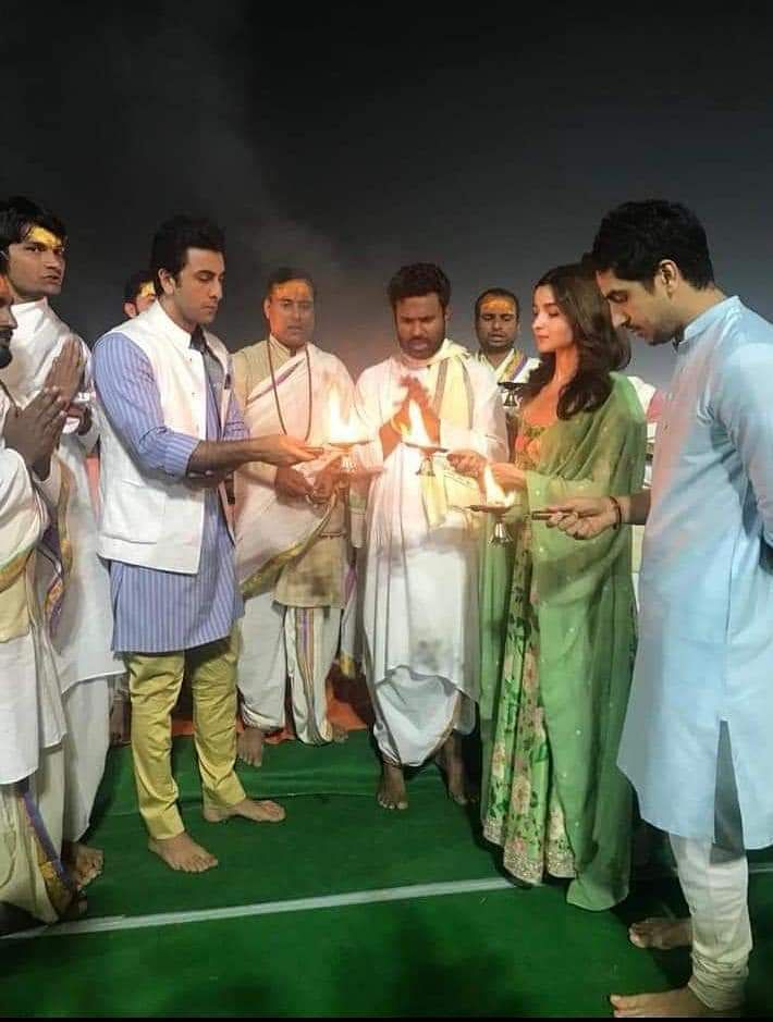 Director Ayan Mukerji and the actors offer a puja at the Kumbh Mela