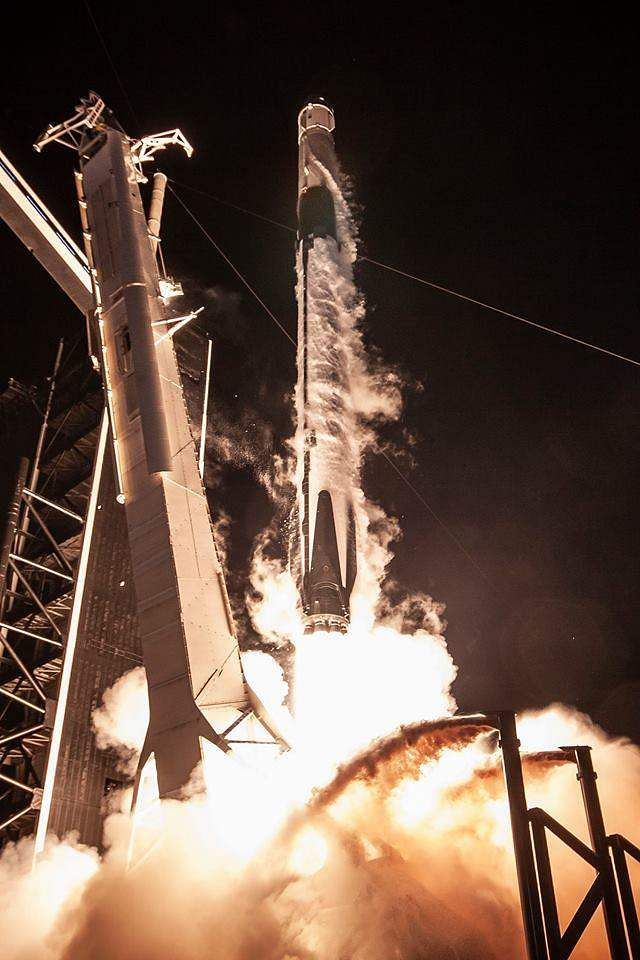 Falcon 9 launches Crew Dragon on its first test flight to the International Space Station. Courtesy: SpaceX