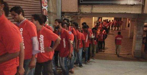 Delivery executives waiting at Bawarchi