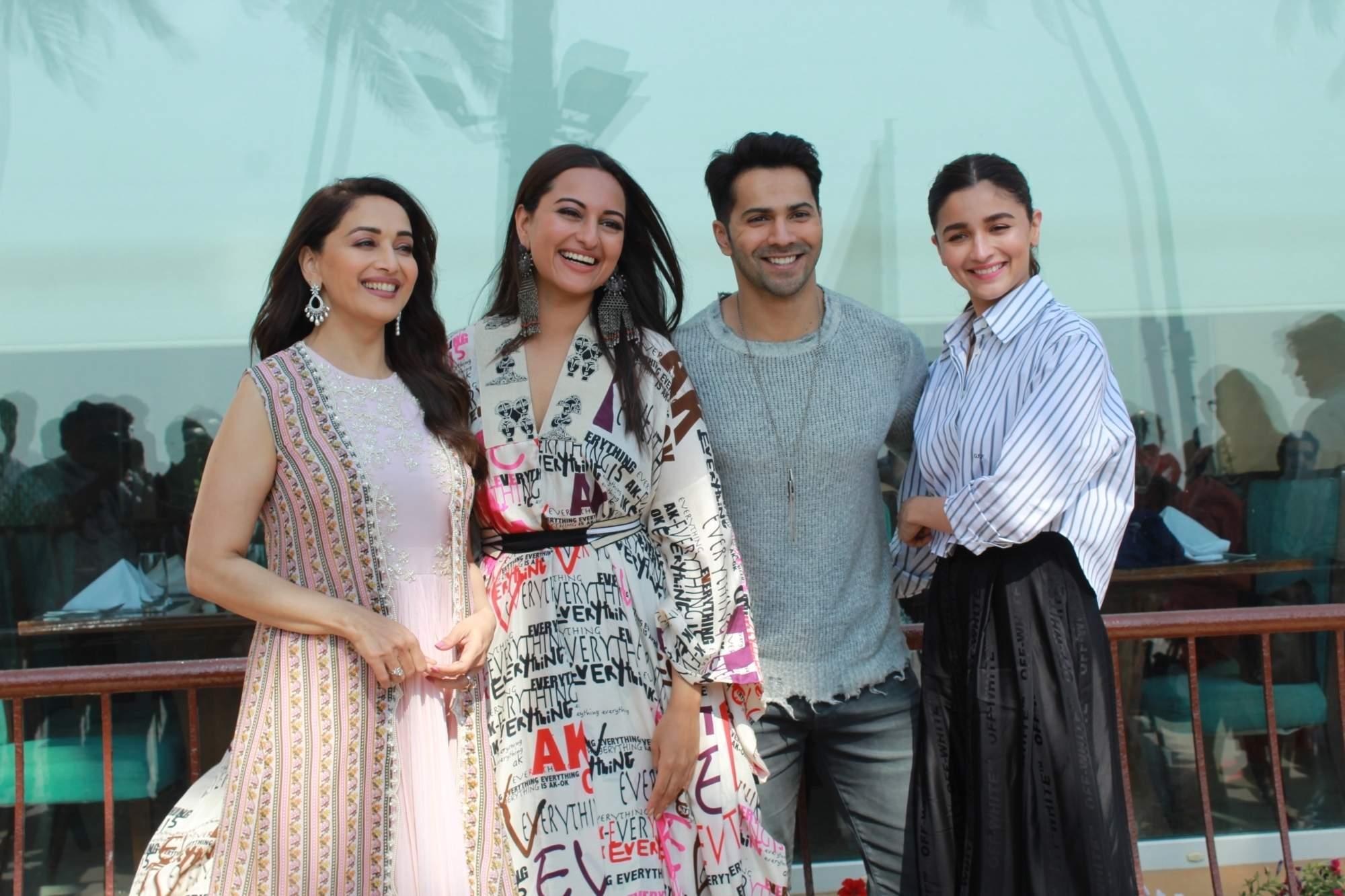 Mumbai: Madhuri Dixit, Sonakshi Sinha, Varun Dhawan and Alia Bhatt during the promotions of their upcoming film 'Kalank' in Mumbai's Juhu on April 8, 2019. (Photo: IANS)