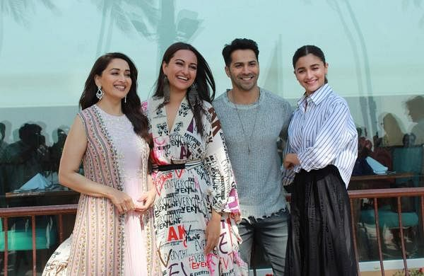 Mumbai: Madhuri Dixit, Sonakshi Sinha, Varun Dhawan and Alia Bhatt during the promotions of their upcoming film 'Kalank' in Mumbai's Juhu on April 8, 2019. (Photo: IANS)