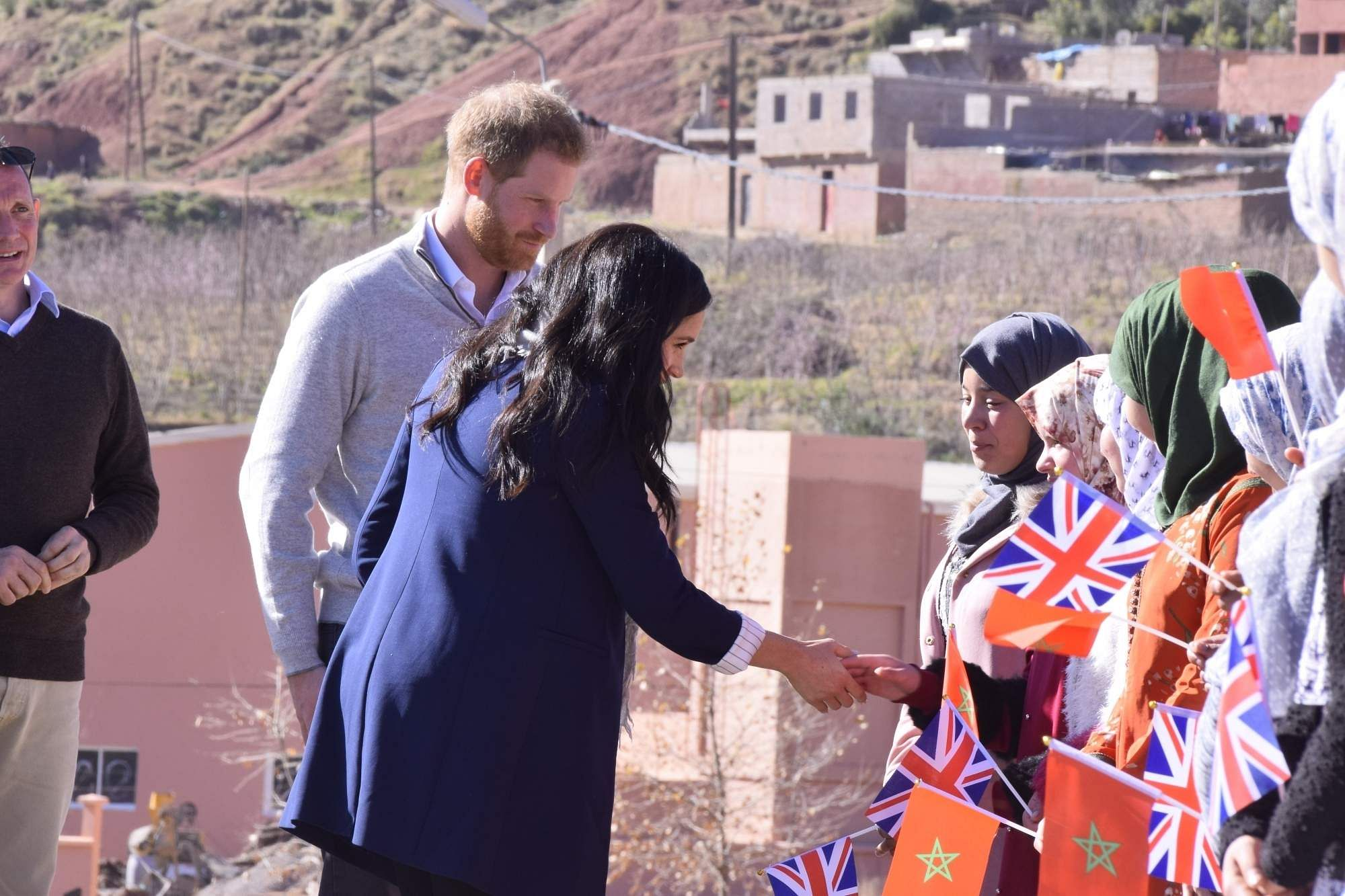 February 24, 2019: Prince Harry and his wife Meghan in the rural town of Asni near Morocco's central city of Marrakech to show support to girls' education and promote gender equality. (Xinhua/IANS)