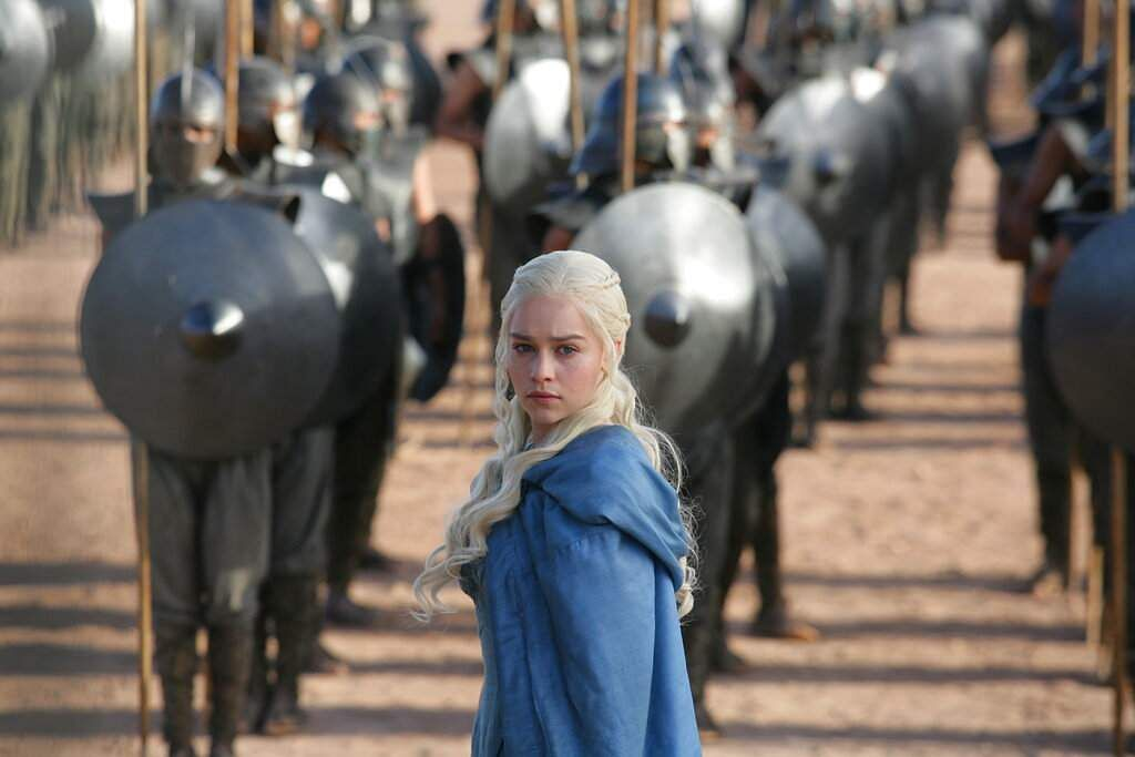 This image released by HBO shows Emilia Clarke in a scene from 'Game of Thrones.' The final season premieres on Sunday. (HBO via AP)