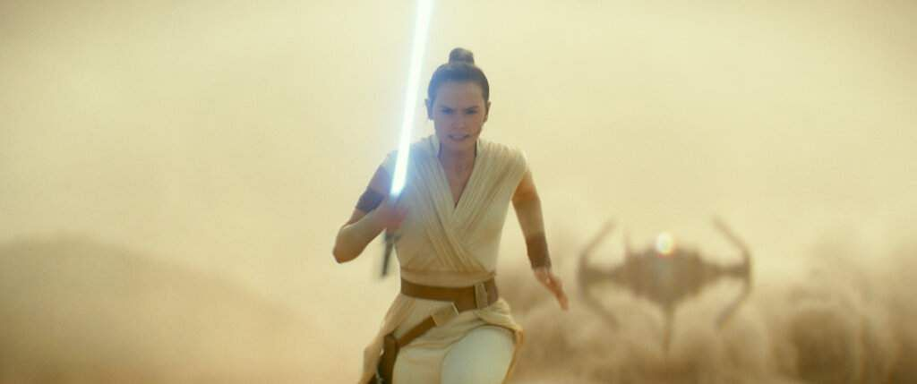 This image released by Lucasfilm Ltd. shows Daisy Ridley as Rey in a scene from 'Star Wars: Episode IX.' (Lucasfilm Ltd. via AP)