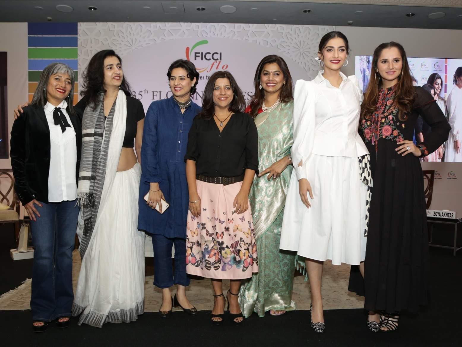 Parle Agro CEO Schauna Chauhan, lawyer Karuna Nandy, Zoya Akhtar, FLO President Pinky Reddy, Sania Mirza and Sonam Kapoor at the 35th Annual Session of FLO in New Delhi. (Photo: Amlan Paliwal/IANS)