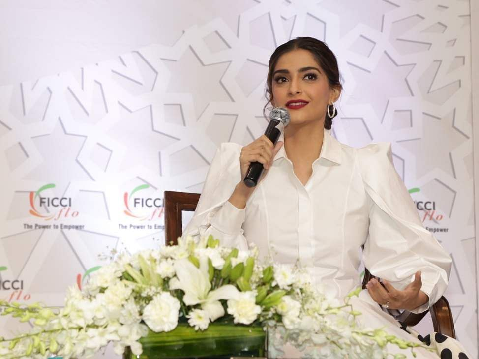 Actress Sonam Kapoor at the 35th Annual Session of FICCI Ladies Organisation (FLO) in New Delhi. (Photo: Amlan Paliwal/IANS)