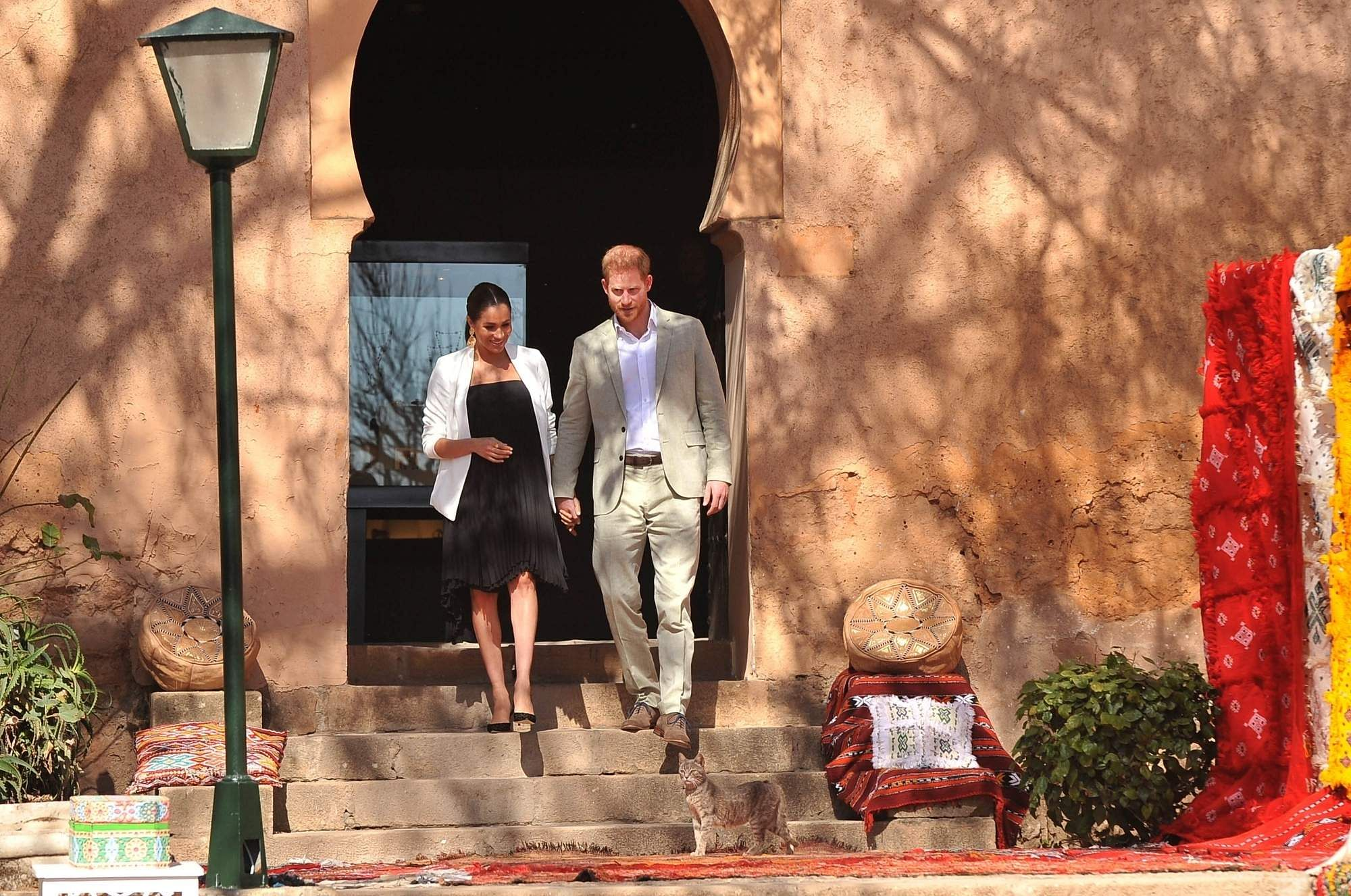 February 25, 2019: Prince Harry and his wife Meghan meet local artisans and young social entrepreneurs in the Andalusian Gardens in Rabat, Morocco. (Xinhua/IANS)