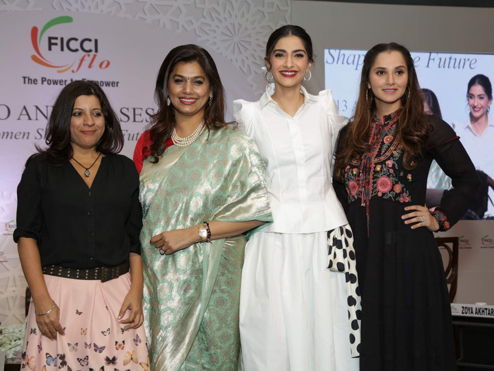 Zoya Akhtar, FICCI Ladies Organisation (FLO) President Pinky Reddy, Sonam Kapoor and Sania Mirza at the 35th Annual Session of FICCI Ladies Organisation (FLO) in New Delhi. (Photo: Amlan Paliwal/IANS)
