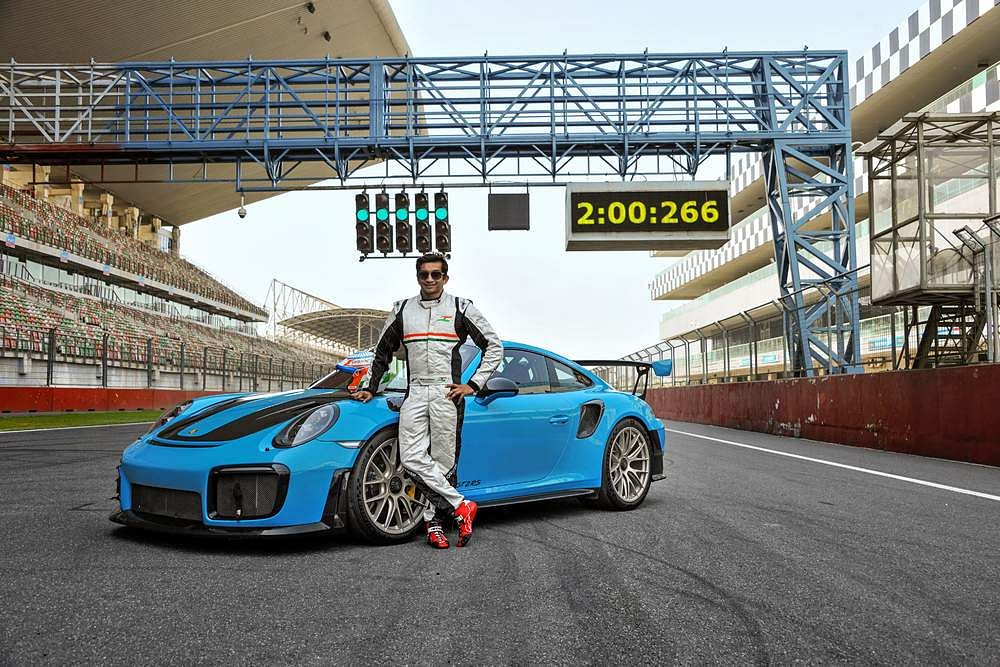 Narain Karthikeyan, India's first F1 Driver, set a new lap record for street legal cars at the Buddh International Circuit in the 911 GT2 RS. Courtesy: Porsche India.