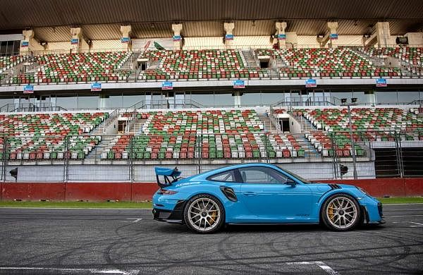 The Porsche 911 GT2 RS has a 3.8 litre biturbo flat engine which completes the zero to 100 km/h sprint in 2.8 seconds. Courtesy: Porsche India.