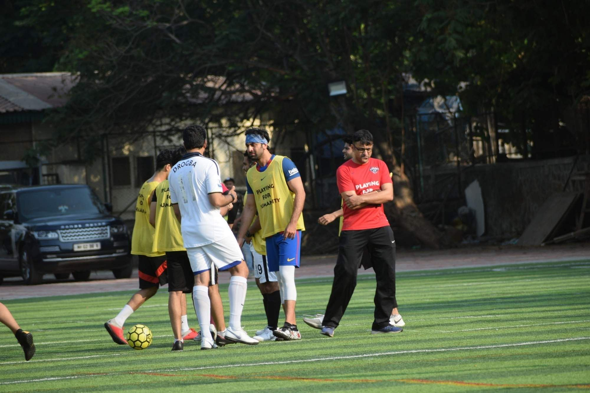 Actor Ranbir Kapoor during a football match in Mumbai's Juhu, on April 14, 2019. (Photo: IANS)