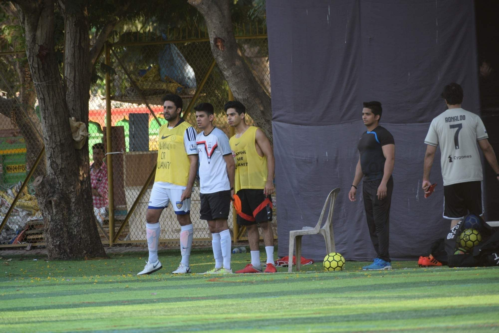 Actors Abhishek Bachchan and Ishaan Khattar during a football match in Mumbai's Juhu, on April 14, 2019. (Photo: IANS)