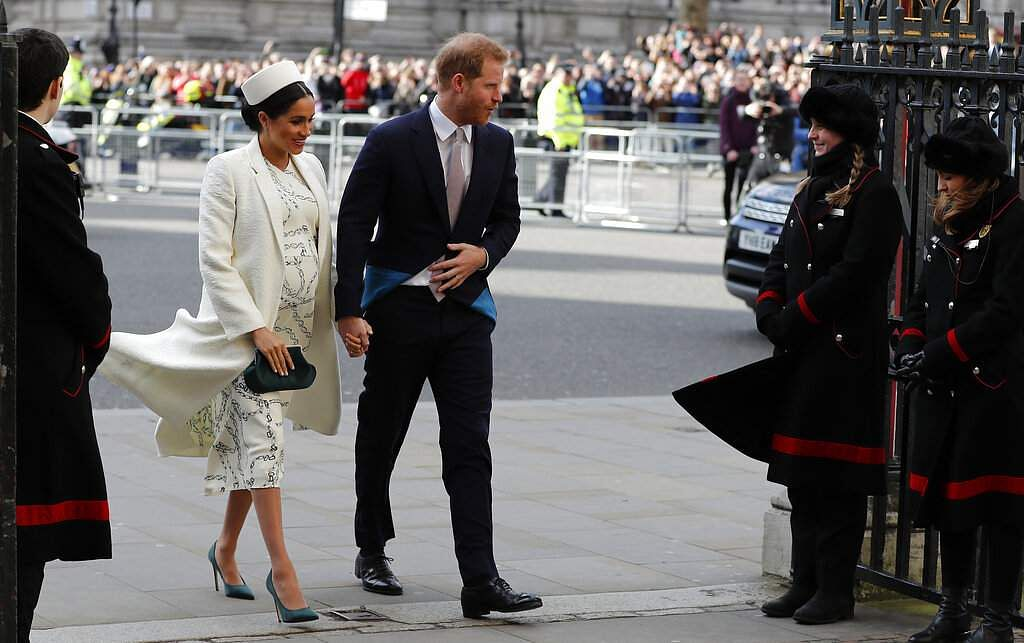 Prince Harry and Meghan attend the Commonwealth Service at Westminster Abbey on Commonwealth Day in London on March 11, 2019. (AP Photo/Frank Augstein)