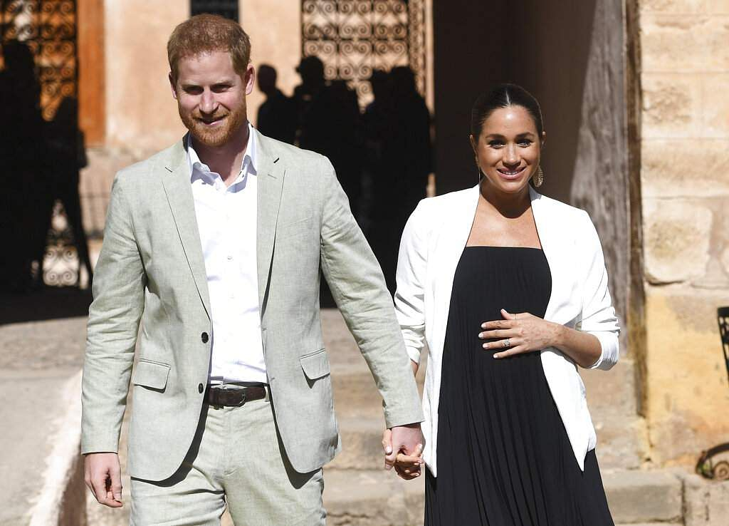 Prince Harry and Meghan visit the Andalusian Gardens in Rabat, Morocco on Feb. 25, 2019. (Facundo Arrizabalaga/Pool Photo via AP)