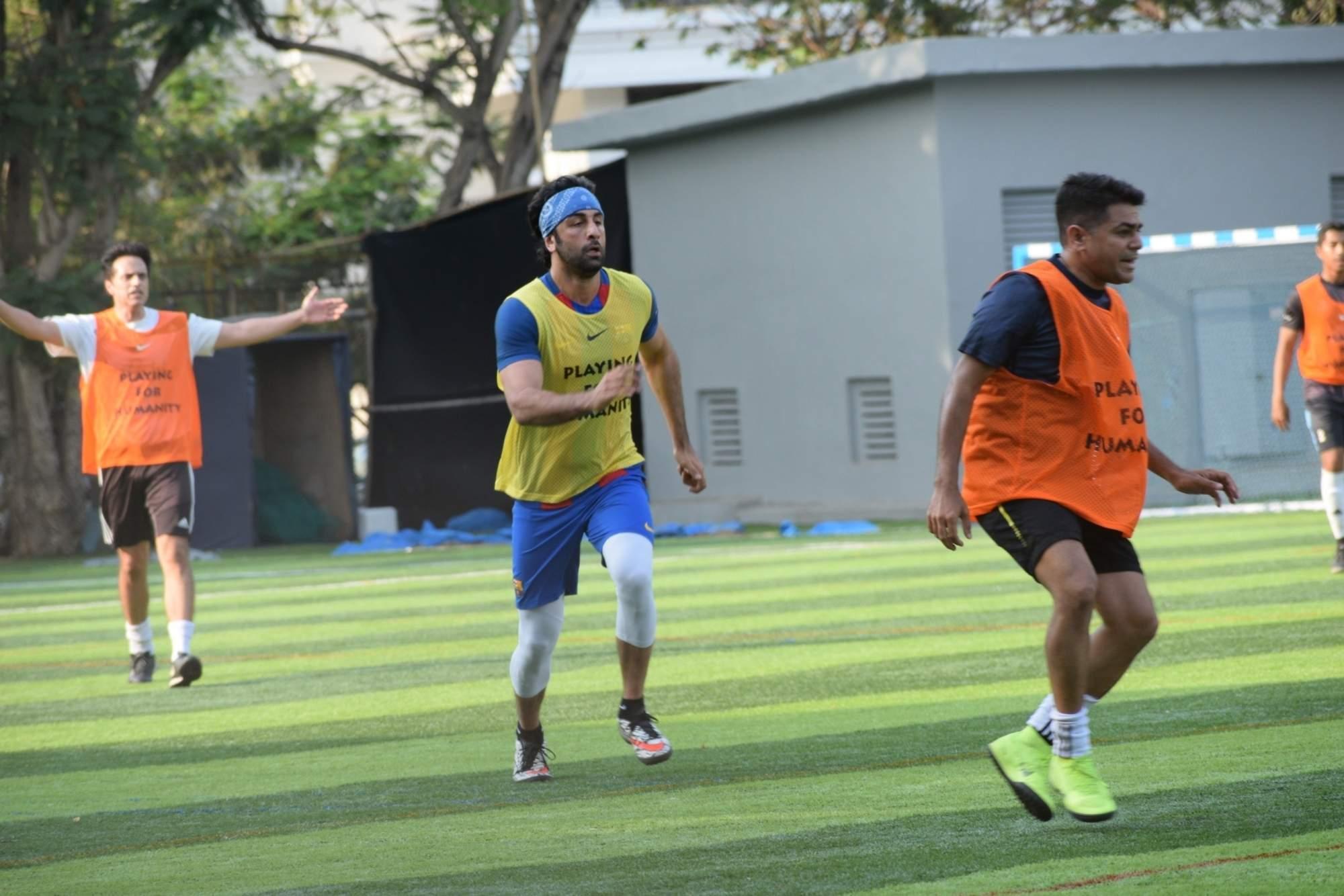 Actor Ranbir Kapoor during a football match in Mumbai's Juhu, on April 14, 2019. (Photo: IANS)