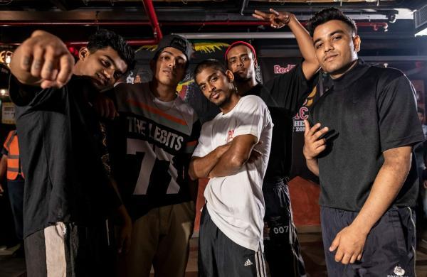 B-Boy Wildchild, B-Boy Soulsonic, B-Boy Tornado, B-Boy Sohail, B-Boy BFab and others at the Red Bull BC One West Zone Cypher in Mumbai, on April 11, 2019. Courtesy: Ali Bharmal/Red Bull Content Pool.