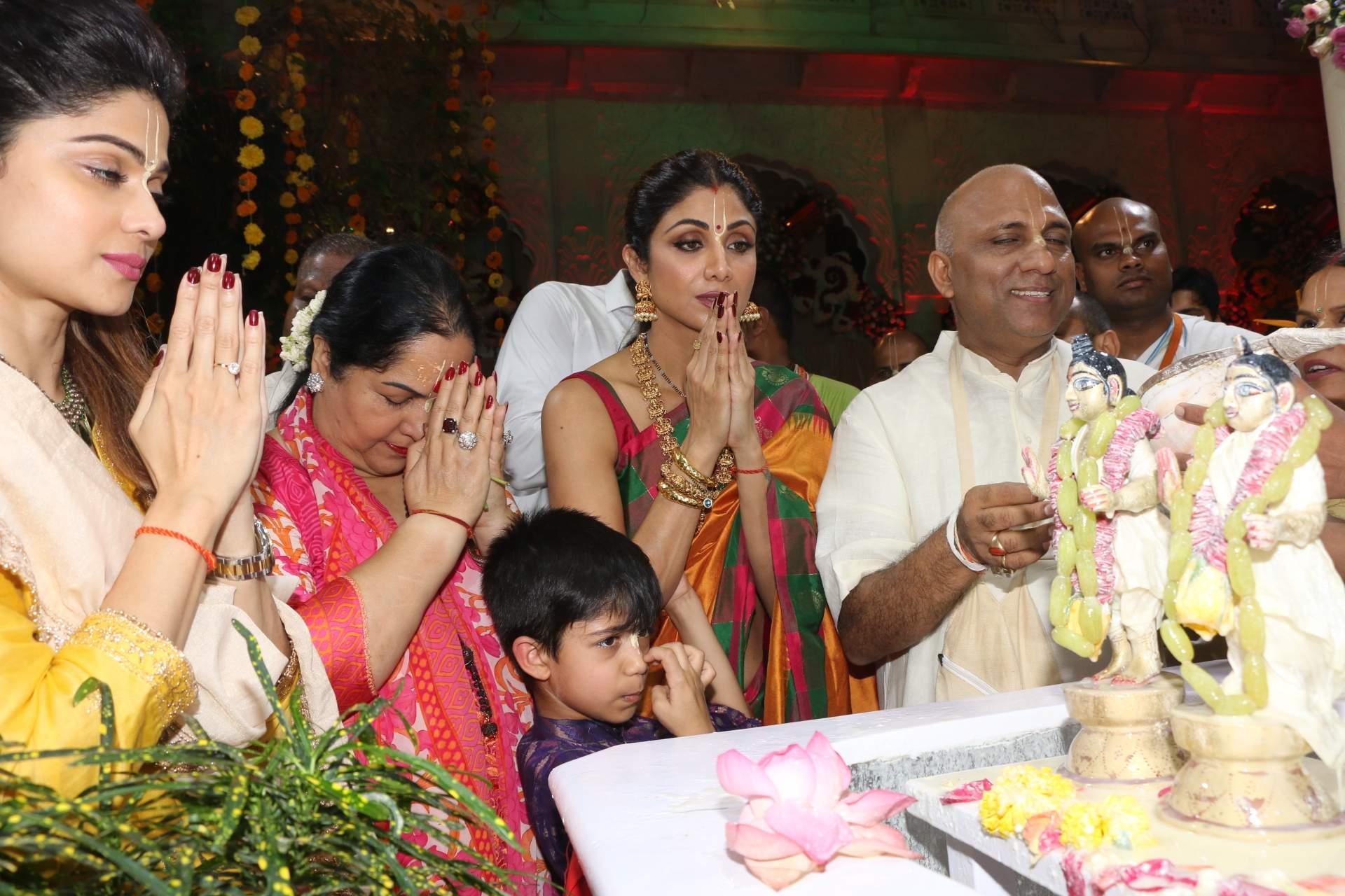 Shilpa Shetty with her son Viaan Raj Kundra, sister Shamita Shetty and mother Sunanda Shetty at ISKCON temple, on the occasion of Ram Navami festival, in Mumbai, on April 14, 2019. (Photo: IANS)