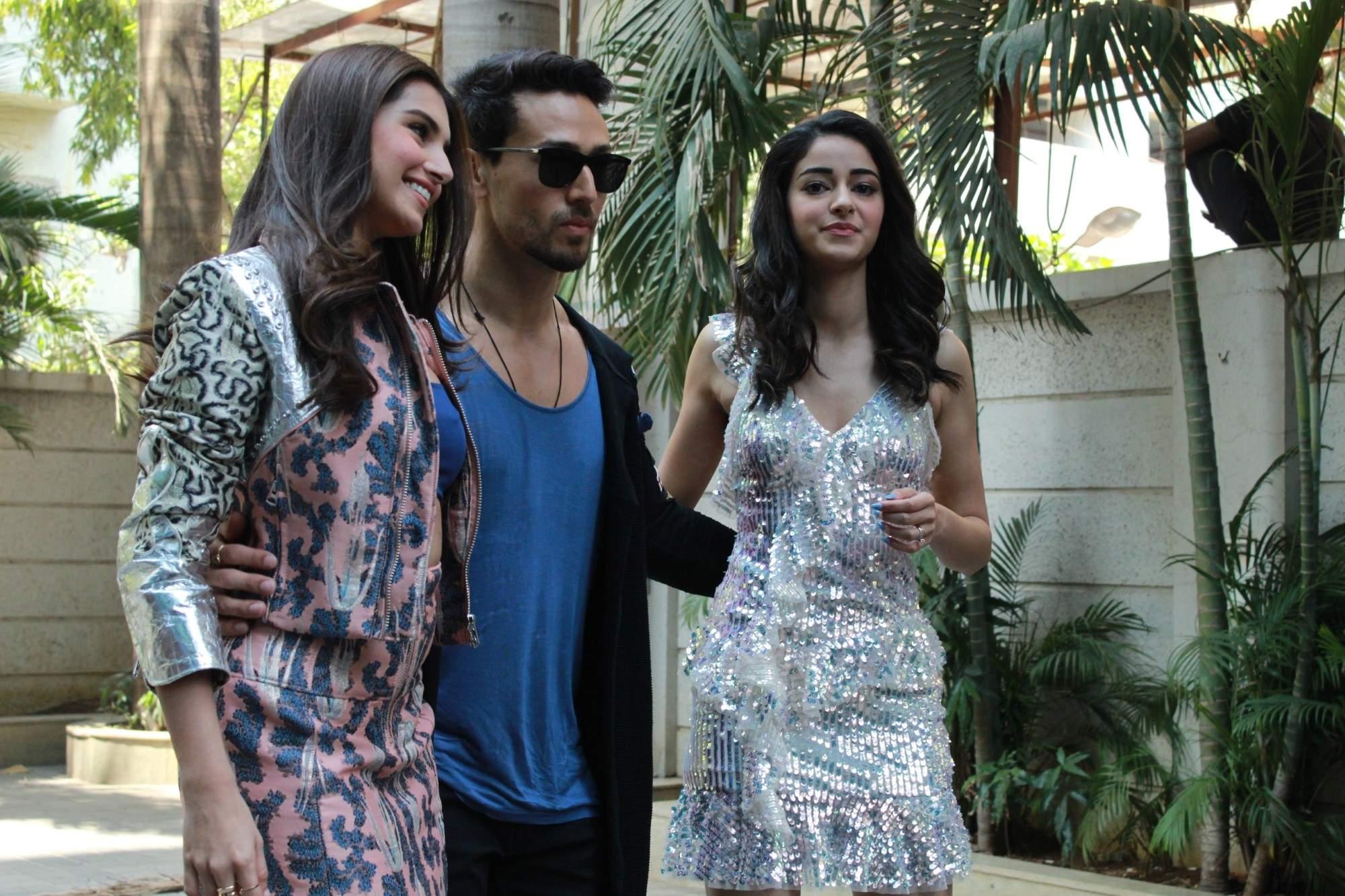 Mumbai: Actors Ananya Pandey, Tara Sutaria and Tiger Shroff at the song launch of their upcoming film 'Student of the Year 2', in Mumbai, on April 18, 2019. (Photo: IANS)