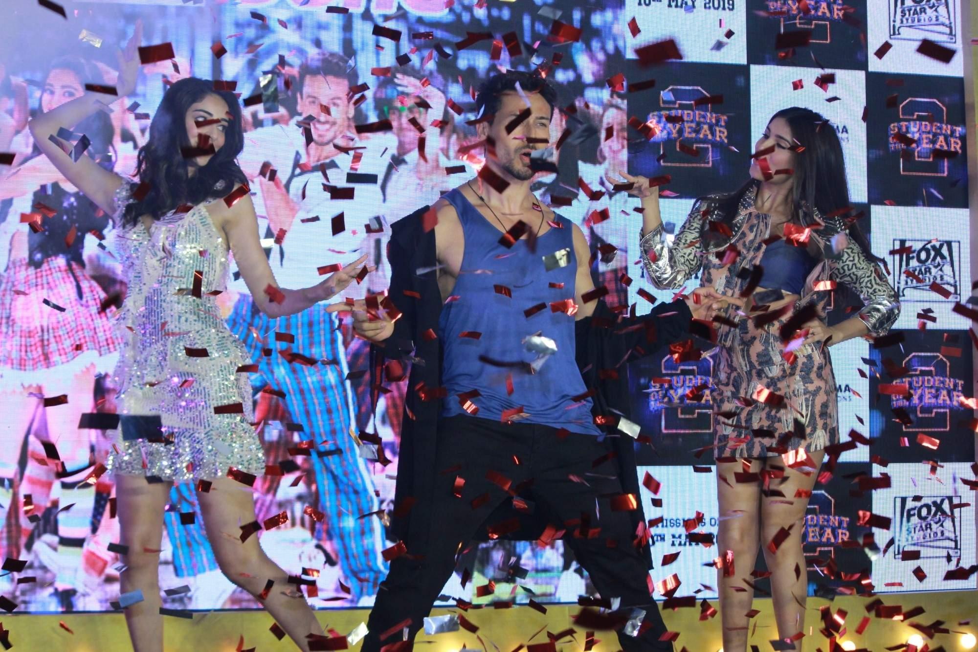Mumbai: Actors Ananya Pandey, Tara Sutaria and Tiger Shroff perform at the song launch of their upcoming film 'Student of the Year 2', in Mumbai, on April 18, 2019. (Photo: IANS)