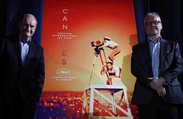 Festival director Thierry Fremaux and festival president Pierre Lescure pose at the Cannes International Film Festival. (AP Photo/Francois Mori)