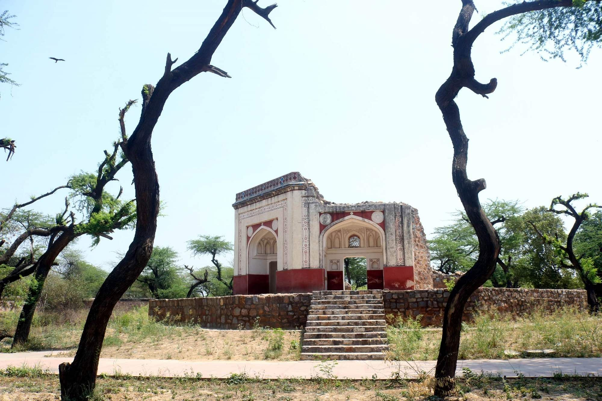 An old structure in the Humayun's Tomb complex designated for conversation. (Photo: Bidesh Manna/IANS)