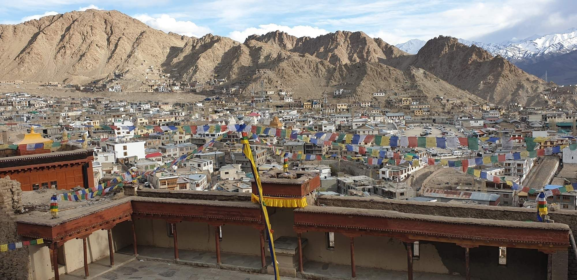 Leh: A bird's eye view of Leh. A high-desert city in the Himalayas, Leh is the capital of the Leh region in J&K. It is known for its Buddhist sites and trekking areas. (Photo: Pranay Bhardwaj/IANS)