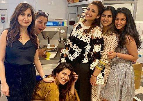 Priyanka Chopra and Parineeti Chopra at Isha Ambani's house