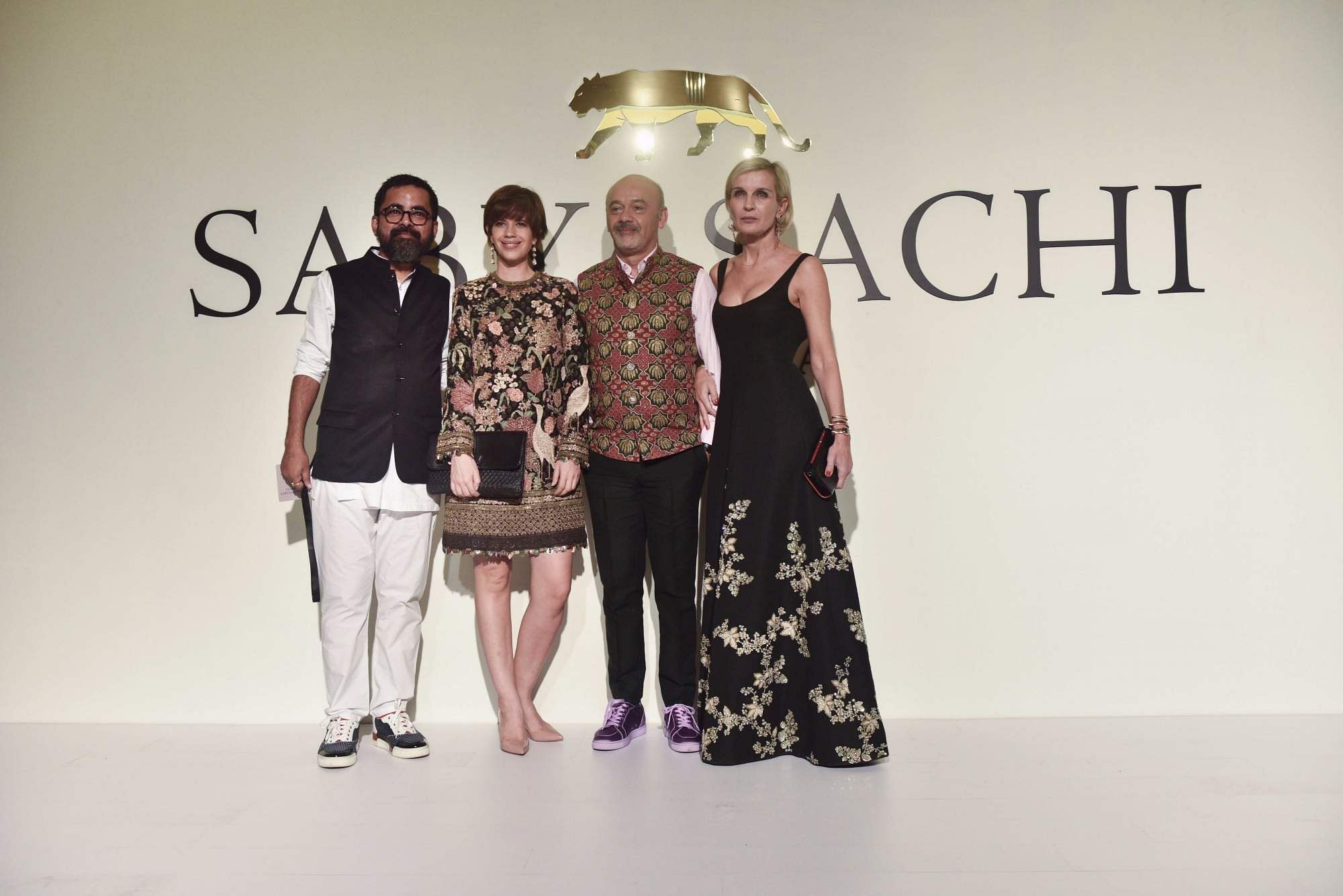 New Delhi: Sabyasachi Mukherjee with Kalki Koechlin, Christian Louboutin and Melita Toscan at the 20th year celebrations of his brand 'Sabyasachi', in New Delhi, on April 6, 2019. (Photo: IANS)
