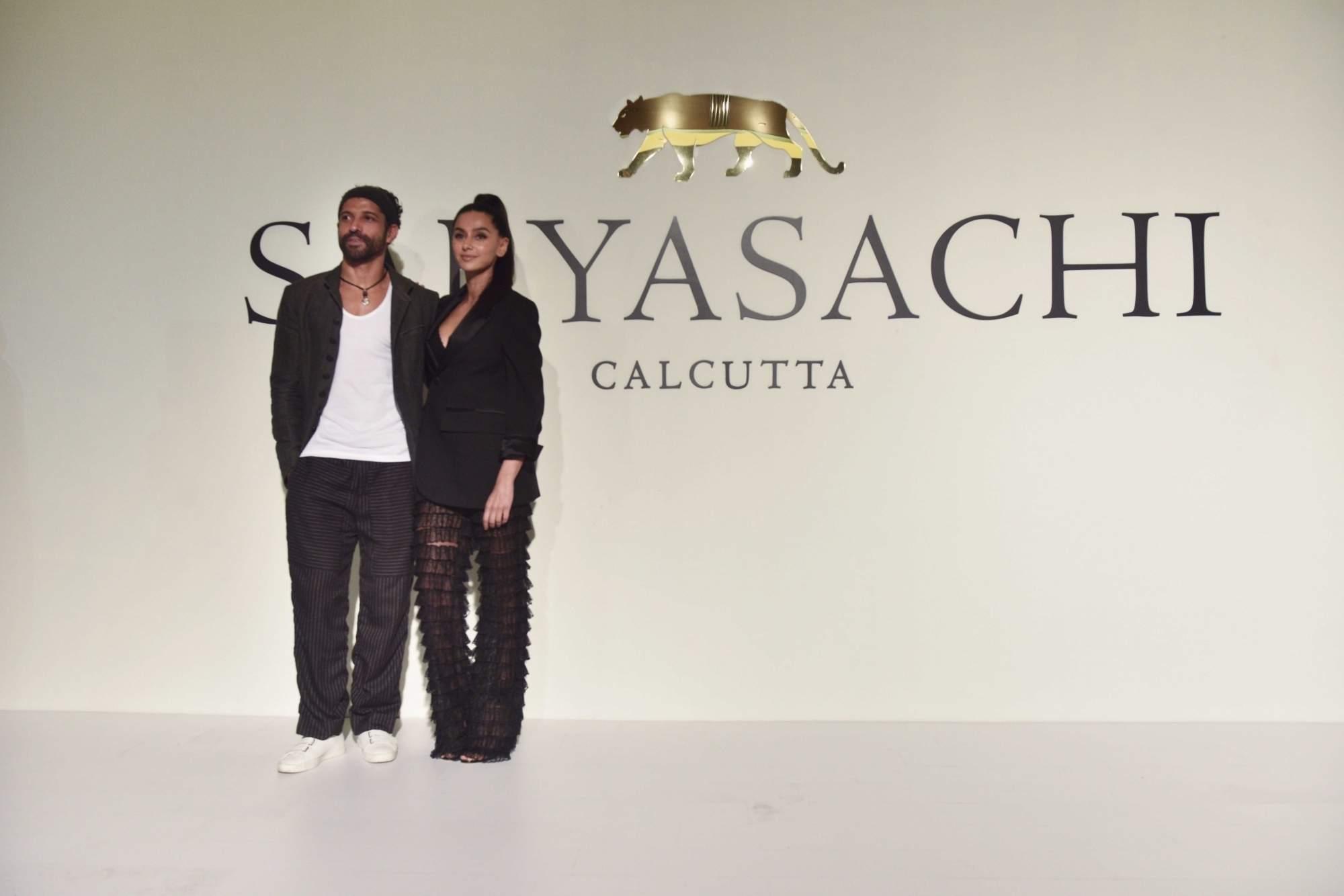 New Delhi: Farhan Akhtar and Shibani Dandekar at the 20th year celebrations of fashion designer Sabyasachi Mukherjee's brand 'Sabyasachi', in New Delhi, on April 6, 2019. (Photo: IANS)