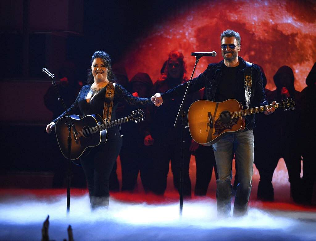Ashley McBryde and Eric Church perform 'The Snake' at the 54th annual Academy of Country Music Awards at the MGM Grand Garden Arena in Las Vegas. (Photo by Chris Pizzello/Invision/AP)