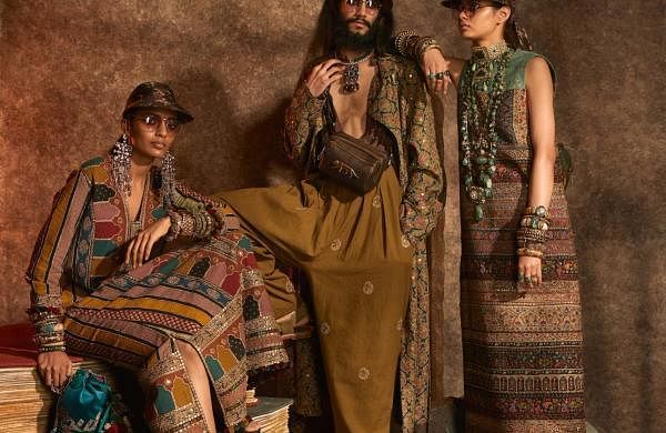 New Delhi: A model showcases the 'Kashgaar Bazaar' collection by Sabyasachi Mukherjee on the 20th year celebrations of his brand Sabyasachi, in New Delhi, on April 6, 2019. (Photo: IANS)