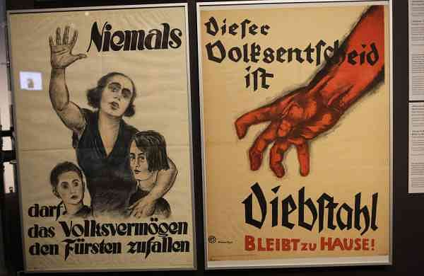 A historic posters displayed at the exhibition 'Weimar: The Essence And Value Of Democracy' at the German Historical Museum in Berlin, Germany. (AP Photo/Markus Schreiber)