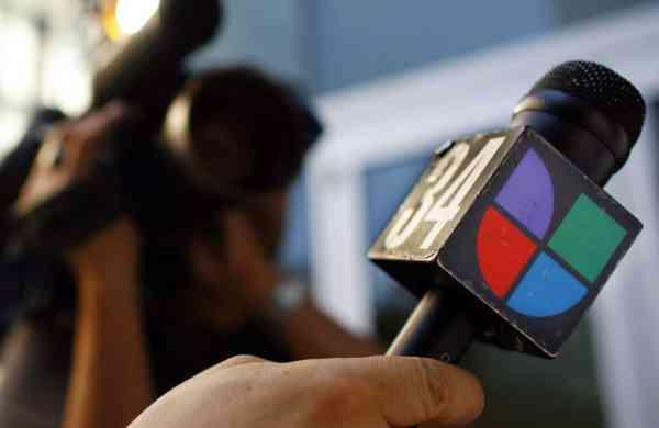File photo: Univision logo in Los Angeles. (AP Photo/Damian Dovarganes)